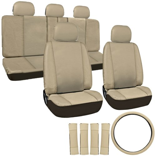 OxGord 17pc Leatherette Seat Cover Set, Airbag Compatible, for HONDA ACCORD, Tan (Honda Seat Covers Accord compare prices)