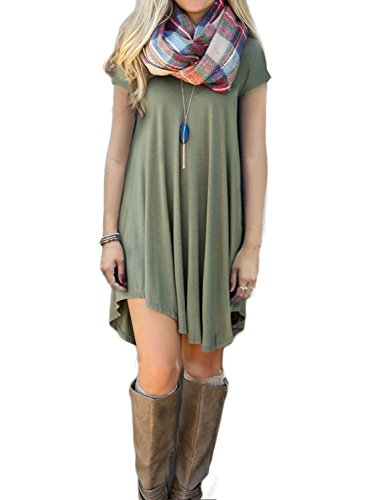 POSESHE-Womens-Short-Sleeve-Casual-Loose-T-Shirt-Dress