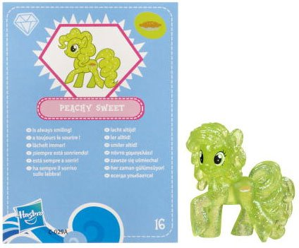 My Little Pony Friendship is Magic 2 Inch PVC Figure Glitter Peachy Sweet Blue Card - 1