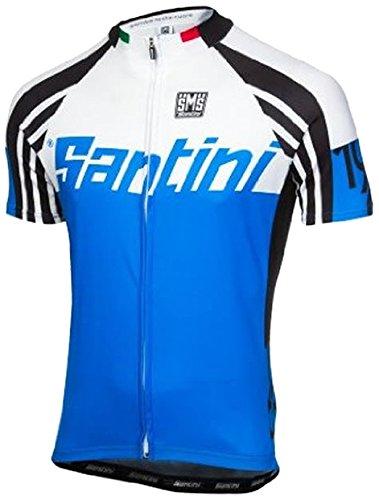Santini Maglia Maniche Corte Con zip intera SP-94275Zest, unisex, Zest, Cyan Blue, 3XL