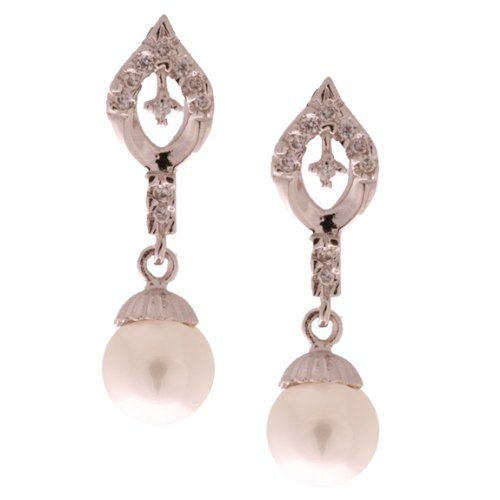 Elegant Sterling Silver with Rhodium Overlay Hanging Freshwater Pearl Earrings with Diamond Shaped Design!