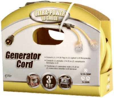 Coleman Cable 3-Feet 10/4 Generator Power Cord Adapter