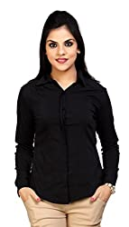 Carrel Brand Imported Cotton Fabric Solid Full Sleeve Shirt Black Colour Women XL Size.