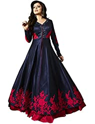 Jay Varudi Creation Women's Embroidered Banglori Silk Semi-Stitched Dress With Mirror Work (Red Rose_Navy Blue_Free...
