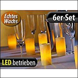 Echtwachs-LED-Kerzen (Lunartec) mit Ladestation