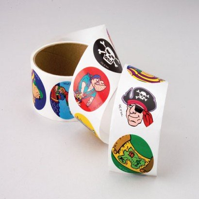 Package of 2 Pirate Sticker Rolls/Arts & Crafts/Scrapbooking/Student Incentives