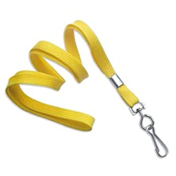 TruOffice Yellow 36-Inch Flat Lanyards with Swivel Hook, 100-Pack (CLANFS36-YL)