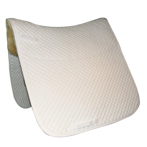 Intrepid International Dressage Pad Quilted with Sheep Skin, White