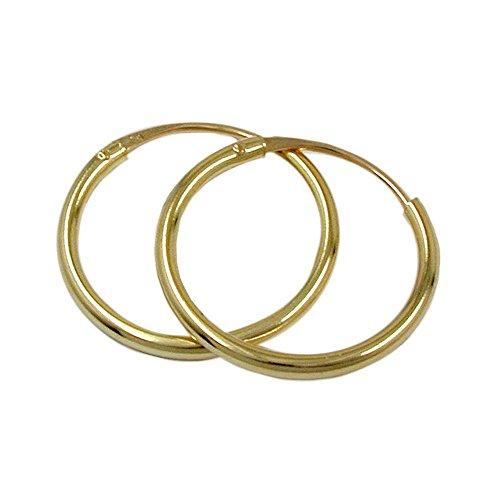goldene Creolen 375 gold Kreolen Creole, 15mm, glänzend, 9 Kt GOLD
