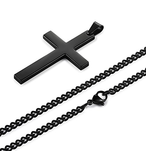 Jstyle Stainless Steel Chain Black Cross Necklace for Men ...