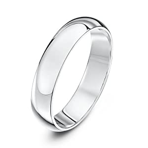 Theia 9ct White Gold - Super Heavy D Shape - Highly Polished - 4mm Wedding Ring - for Men or Women - Size M