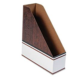 Corrugated Cardboard Magazine File, 4 x 11 x 12 3/4, Wood Grain, 12/Carton, Sold as 12 Each