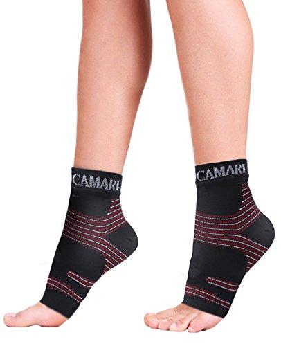 Fascie plantari sportive Camari Gear (1 paio) - Maniche per il sostegno del piede per uomo e donna - Sostegno per l'arco del tallone - Calzino per la caviglia per alleviare il gonfiore, sfregamento e dolore ai talloni, tendine di Achille (Large)