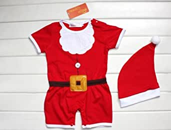 Baby Boys Santa Claus Costume Cotton Romper and Hat 2-pc Set (90/12-18 Months)