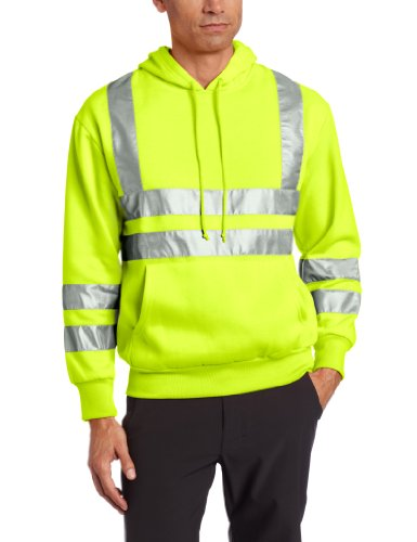 Dutch Harbor Gear Men's Unlined Neon Hooded Pullover with Reflective Tape, Neon Green, Medium