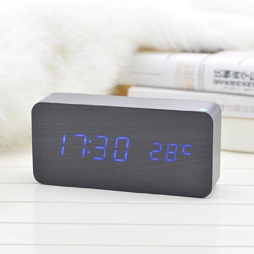 Kabb Black Wooden Grain Design Blue Light Decorative Desktop Alarm Clock With Time And Temperature Display - Sound Control - Latest Generation (Usb/4Xaaa)