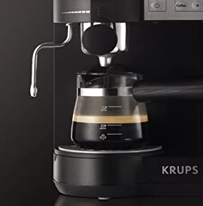 KRUPS XP160050 Coffee Maker and Espresso Machine Combination with Milk Frothing Nozzle for ...