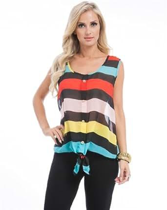 MOD Plus Women's Rainbow Stripe Tie Plus Size Top Red XL ... - photo #43