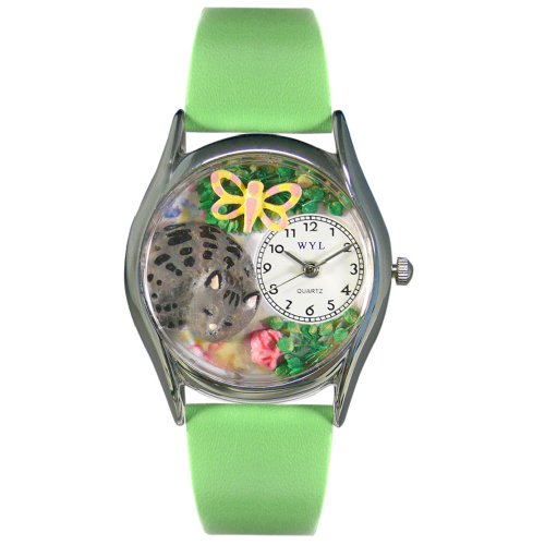 Whimsical Watches Women's S0120010 Cat Nap Green Leather Watch
