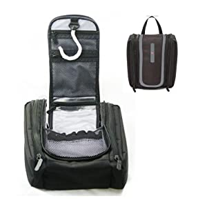 Swiss Hanging Toiletry Kit Travel Bag Black Makeup Wash Cosmetic Shaving Zipper