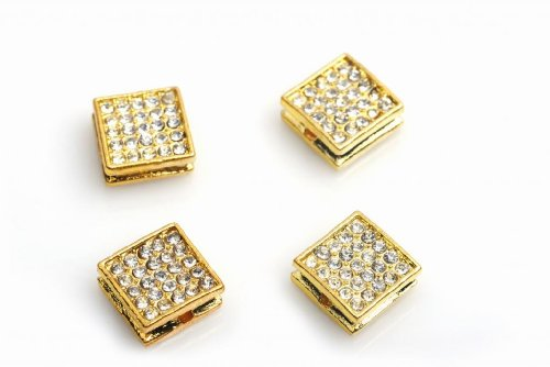 Gold Color Square Rhinestone Alloy Beads For Shamballa Bracelet or Necklace ,DIY Jeewelry Accessories 25pcs/lot