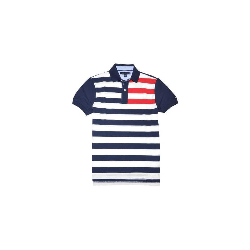 Tommy Hilfiger Men Logo Striped Polo T shirt (M, Navy/white/red)