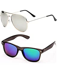 SHEOMY COMBO OF STYLISH GOLDEN SILVER MERCURY AVIATOR AND BLUE MERCURY WAYFARER SUNGLASSES WITH 2 BOX - Free Delivery