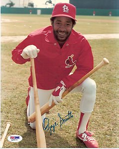 OZZIE SMITH AUTOGRAPHED 8 X 10 CARDINALS PHOTO ( 2 BATS ) PSA  DNA by Bud