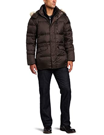 Marc New York by Andrew Marc Men's Alpine Down Filled Nylon Parka with Fur Trimmed Hood, Espresso, Medium