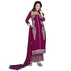 Bhelpuri Women Purple Georgette Semi-stitched Salwar Kameez