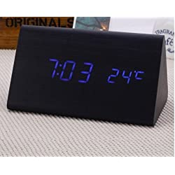 Smileto® Mini Triangle Wood Style Grain Thermometer Touch Sound Activated Desk LED Digital Alarm Clock(Black case Blue light)