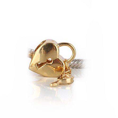 Bling Jewelry Gold Lock Key 925 Sterling Silver Heart Bead Troll Biagi Pandora Compatible
