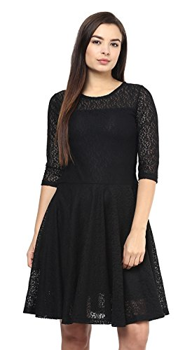 SWAGG-Womens-A-Line-Black-Dress
