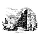 Grabado antiguo (1852) - Grabado al acero - Ruinas Del Anfiteatro De Mérida (8.5x12), Coderch