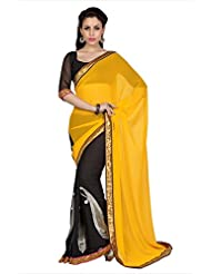 Designersareez Women Yellow & Black Faux Georgette Saree With Unstitched Blouse (1693)