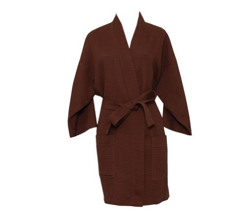 Monogrammed Bathrobes, Coco Brown Cotton Waffle Robe For Bridesmaids And Gifts front-504415