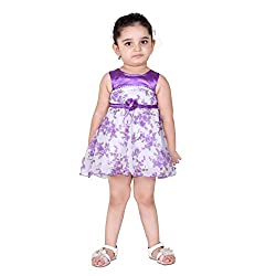 NAVEENS Purple Cotton Round Neck Party wear Dress for Girls