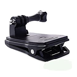 Esonstyle Bag Backpack Strap Quick Release Clip Clamp Mount 360 Degree Rotation for Gopro Hero 4 3+ 3 2 1 Black