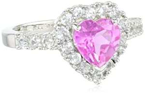 10k White Gold Heart-Shaped Created Pink Sapphire and Round Created White Sapphire Heart Ring, Size 5