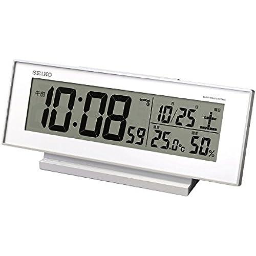 SEIKO CLOCK (세이코 clock) 자명종 항시 점등 전파 디지탈 캘린더・온도・습도 표시야에서도 보인 흰색 SQ762W-SQ762W (2012-05-10)
