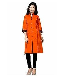 Shubh Women's Cotton Kurti (Shubh_106_Orange_Free Size)