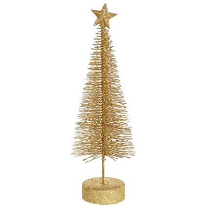 Vegas Gold Glitter Sisal Artificial Table Top Christmas Trees - Pack of 2 by Vickerman