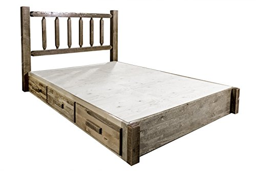 Montana Woodworks Platform Bed With Storage Stain And Lacquer Finish