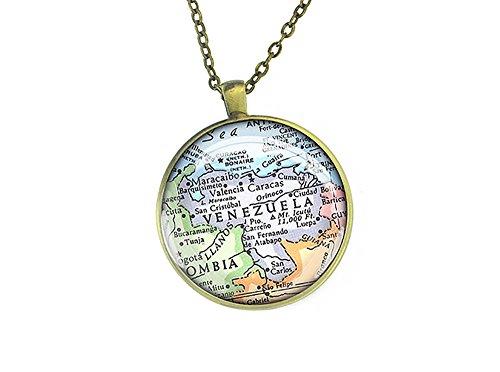 1982Vintage Venezuela Mappa collana ciondolo in argento regalo Forever Love Per Madre, rame, colore: Bronze, cod. M2651CP-CB