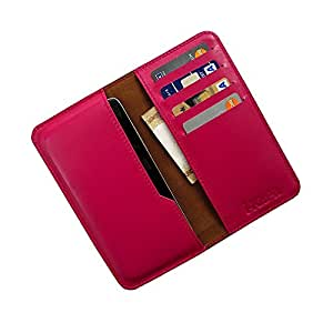 i-KitPit : Genuine Leather Wallet Flip Pouch Case For Lava Xolo Q700i (PINK)