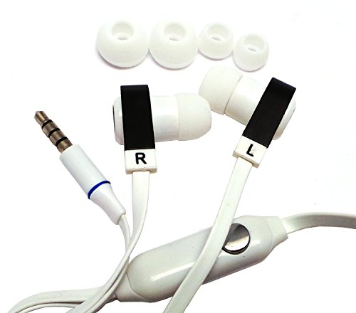 Importer520 New Design Tangle Free Handsfree Stereo Earphones Earbuds Earpieces With Microphone For Nokia Lumia 521 520 (At & T, Metro Pcs, T-Mobile)- Flat-Wh