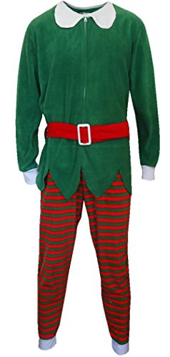 Red And Green Christmas Elf One Piece Pajama for men (Medium)