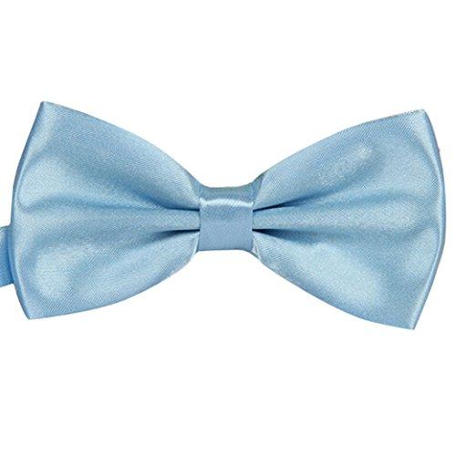 Tangda Men Solid Tuxedo Satin Polyester Bow Tie Bowties - Light Blue