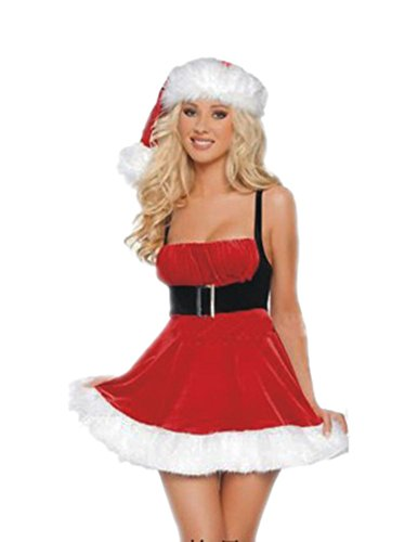 Prettycostume Women's Christmas Costumes of High-waist Dress with Halter Straps Red
