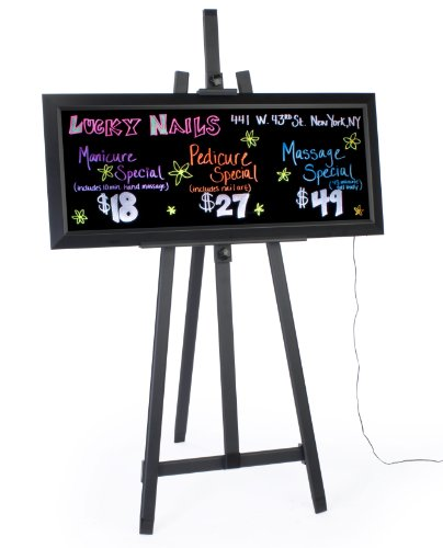 Led Illuminated Write-On Message Board With Markers And Floor Easel, 13 Different Illumination Effects - Black